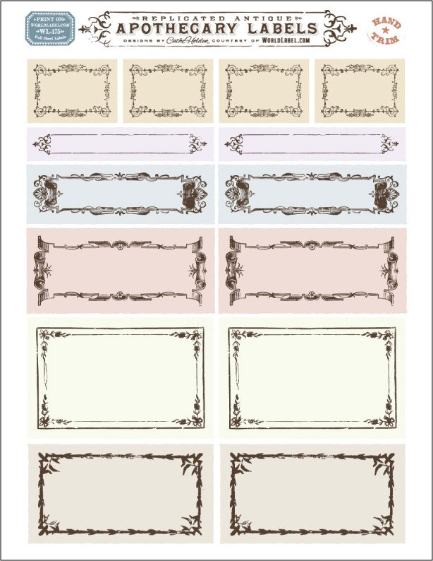 Free Printable Label Template ornate Apothecary Blank Labels by Cathe Holden