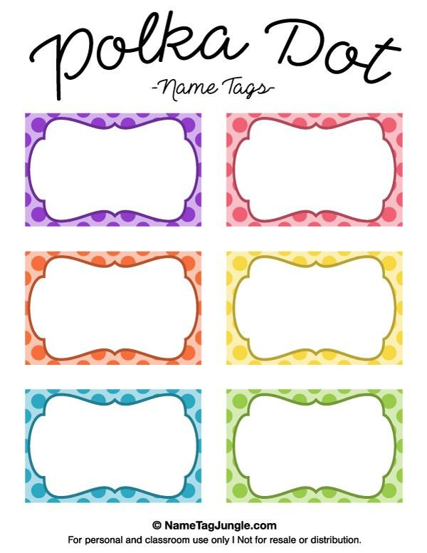 Free Printable Label Templates Free Printable Polka Dot Name Tags the Template Can Also