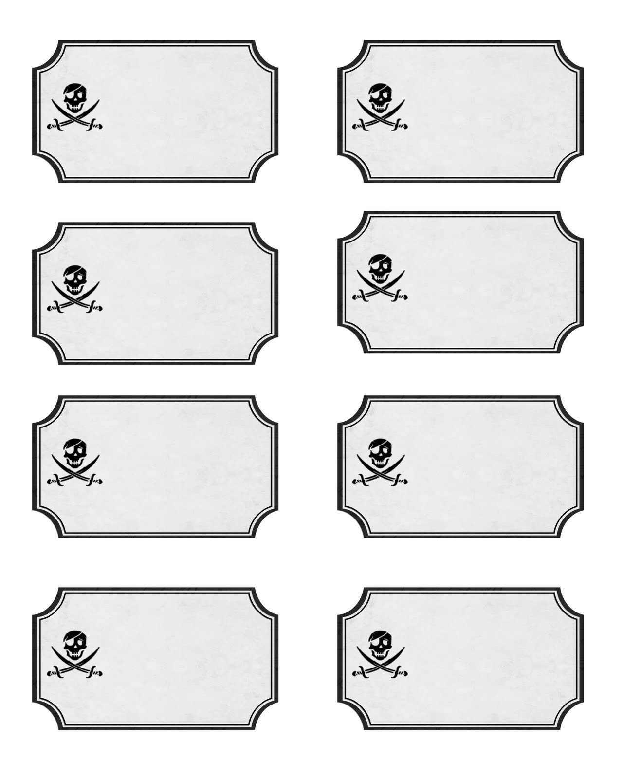 Free Printable Label Templates Pirate Party with Free Printables