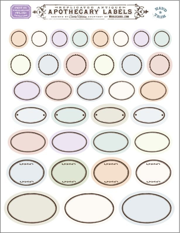 Free Printable Labels Template Free Printable Vintage Round and Oval ornate Blank Labels