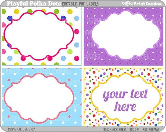 Free Printable Labels Template Rectangle Editable Pdf 8x10 Playful Polka Dots Labels