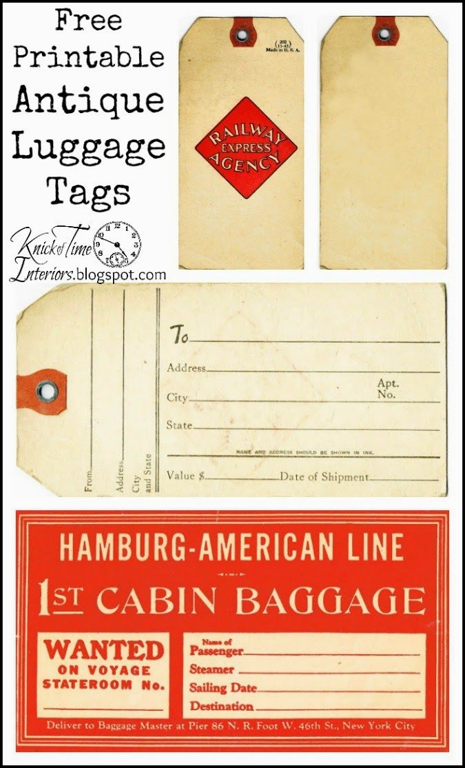 Free Printable Luggage Tags Antique Graphics Wednesday Vintage Luggage Tags