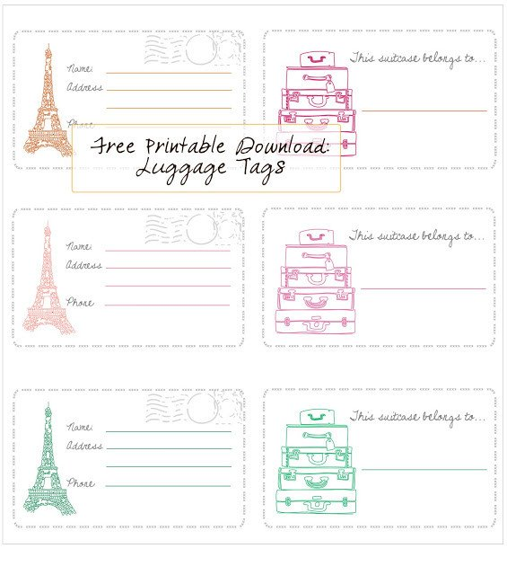 Free Printable Luggage Tags In Honor Design Free Printable Luggage Tags