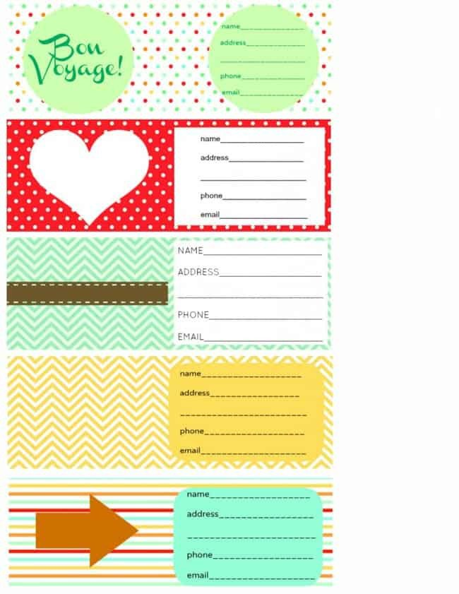 Free Printable Luggage Tags Printable Luggage Tags and Packing Checklist the Pretty Bee