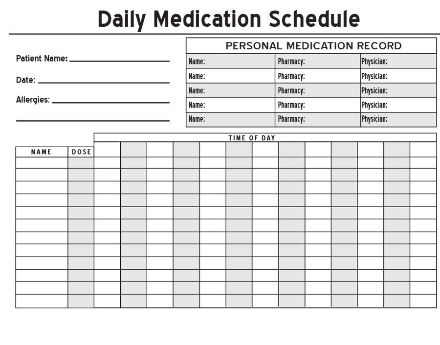 Free Printable Medication Chart 40 Great Medication Schedule Templates Medication Calendars