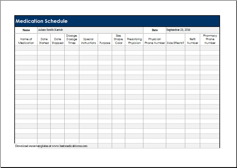 Free Printable Medication Chart Daily Medication Schedule Template for Excel