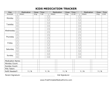 Free Printable Medication Chart Printable Kids Medication Tracking form
