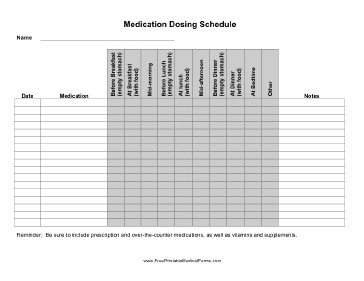 Free Printable Medication Chart Printable Medication Dosing Schedule