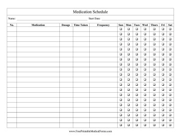 Free Printable Medication Chart Printable Medication Schedule Checklist