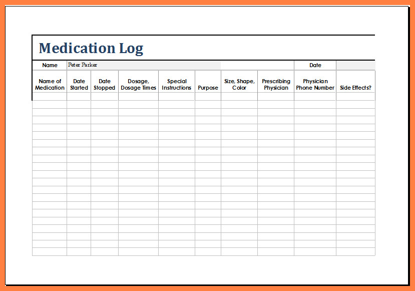 Free Printable Medication List Template 12 Medication List Template