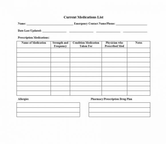 Free Printable Medication List Template 58 Medication List Templates for Any Patient [word Excel