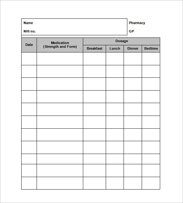 Free Printable Medication List Template 8 Medication Card Templates Doc Pdf