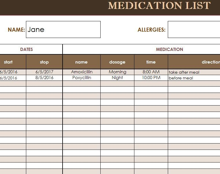 Free Printable Medication List Template Medication List Template My Excel Templates