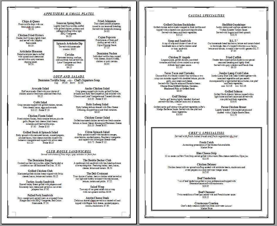 Free Printable Menu Template Free Printable Template Restaurant Menus