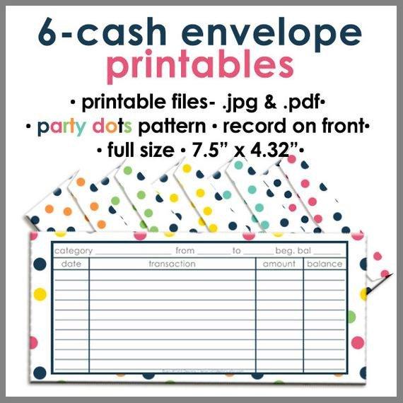 Free Printable Money Envelopes Printable Blank Cash Envelope Bud Ing System Party Dots