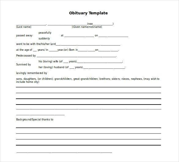 Free Printable Obituary Templates 10 Microsoft Word Obituary Templates Free Download