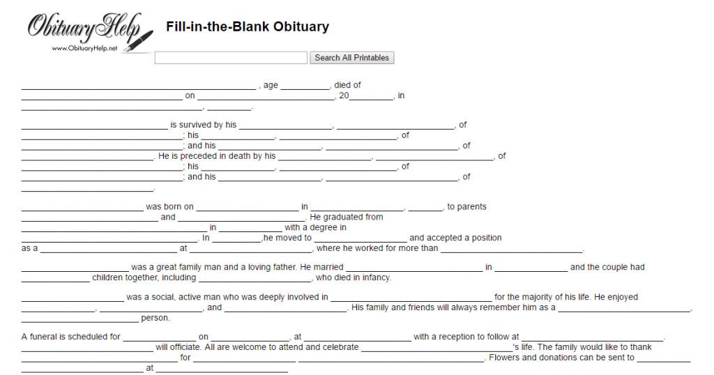 Free Printable Obituary Templates 17 Obituary Template Samples