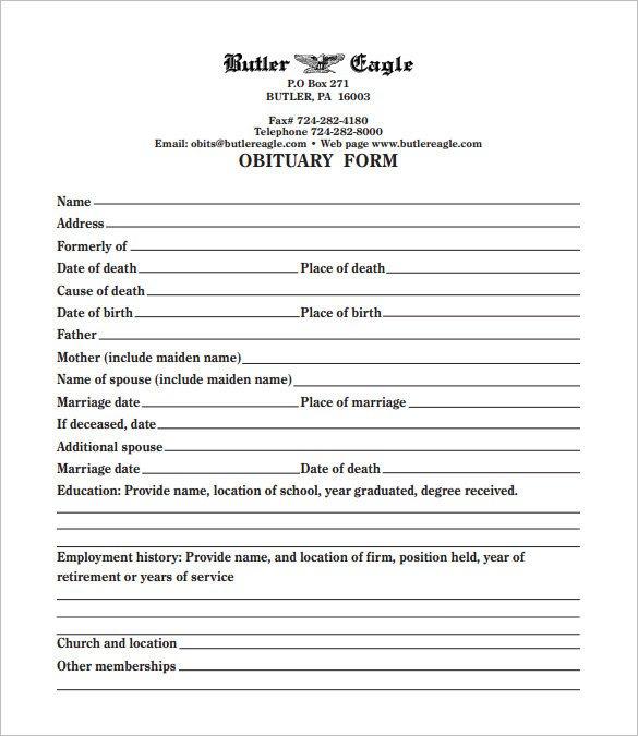 Free Printable Obituary Templates 19 Free Obituary Templates Pdf Doc