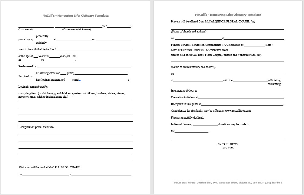 Free Printable Obituary Templates 21 Free Obituary Templates Samples and Guides