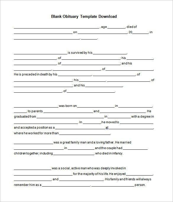 Free Printable Obituary Templates 51 Obituary Templates Doc Pdf Psd