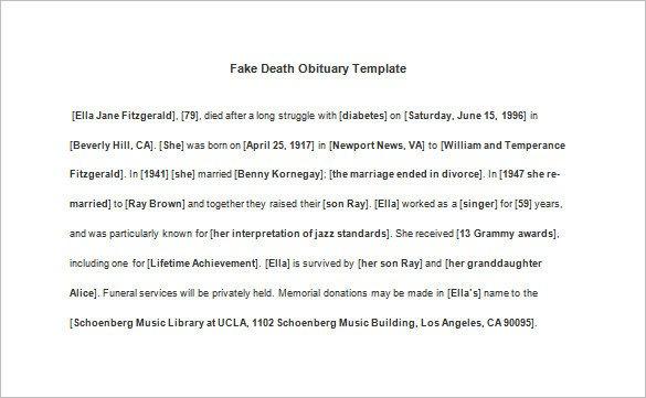 Free Printable Obituary Templates 9 Death Obituary Templates Doc Pdf Psd