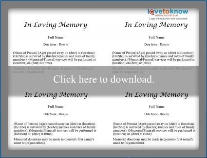 Free Printable Obituary Templates Free Obituary Templates