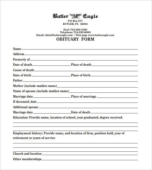 Free Printable Obituary Templates Printable Obituary Template