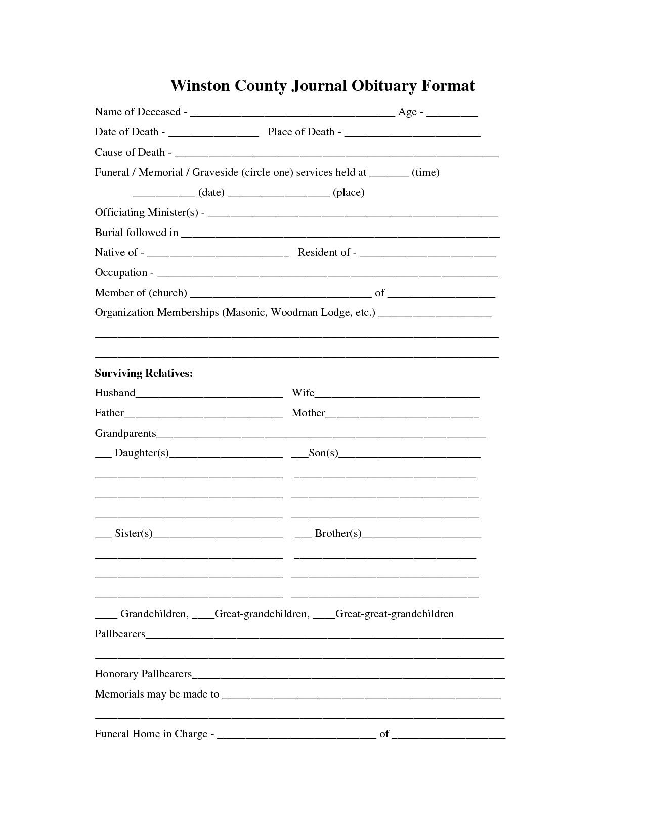 Free Printable Obituary Templates Printable Obituary Template