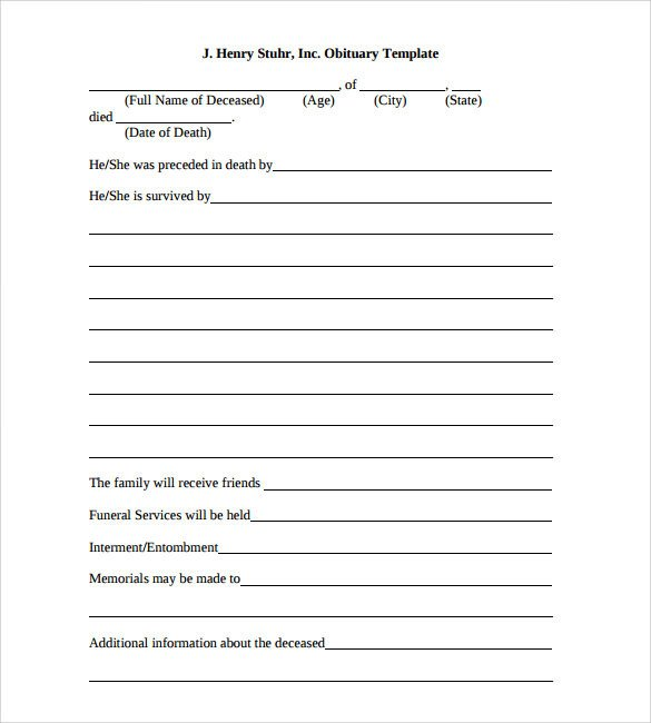 Free Printable Obituary Templates Sample Obituary Template 11 Documents In Pdf Word Psd