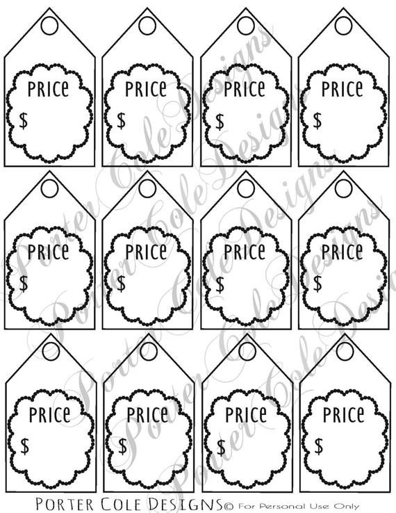 Free Printable Price Tags Template Price Tags Printable Digital File