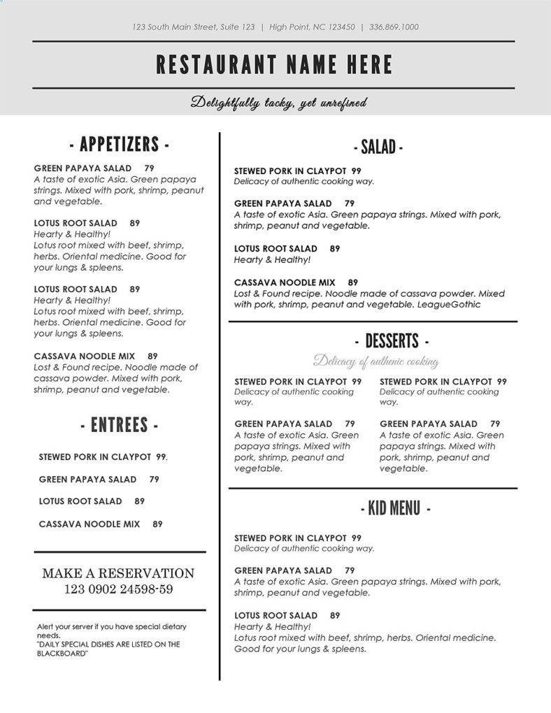 Free Printable Restaurant Menu Templates 30 Printable Menu Designs & Templates Psd Ai Vector