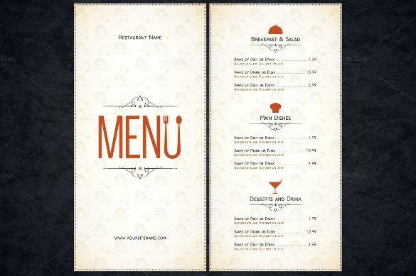 Free Printable Restaurant Menu Templates 51 Restaurant Menu Templates Design Psd Docs Pages