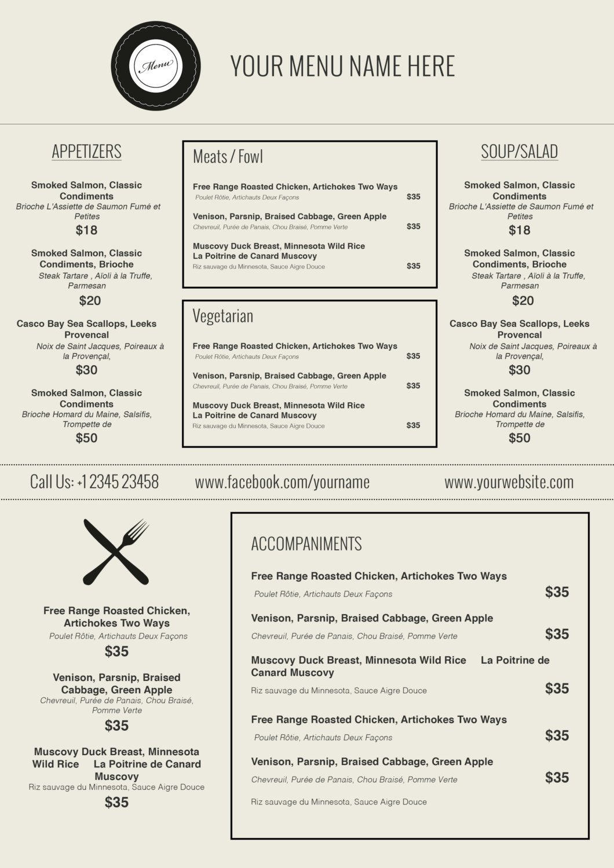Free Printable Restaurant Menu Templates Design & Templates Menu Templates Wedding Menu Food