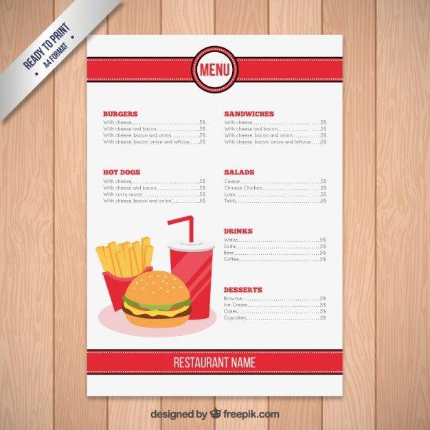 Free Printable Restaurant Menu Templates Fast Food Restaurant Menu Template Vector
