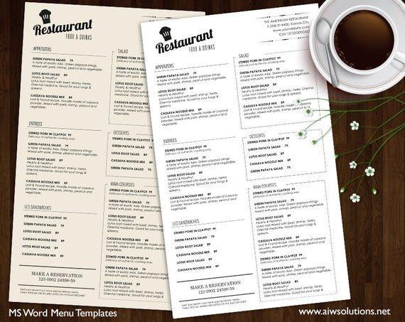 Free Printable Restaurant Menu Templates Food Menu Templates Printable Restaurant Menu Template