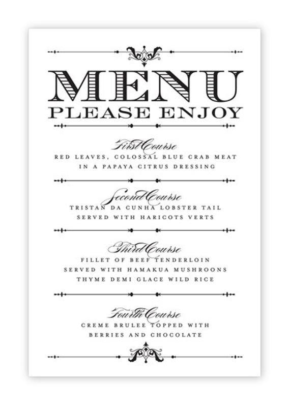 Free Printable Restaurant Menu Templates Wedding Menu Card Printable Diy by Hesawsparks On Etsy
