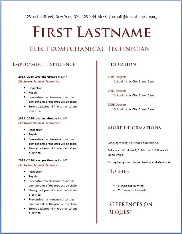 Free Printable Resume Templates Free Cv Template 114 to 120 Cv Template