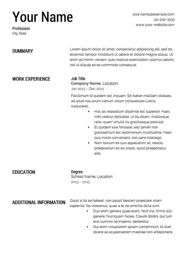 Free Printable Resume Templates Free Resume Templates