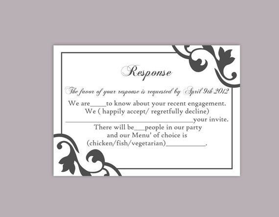 Free Printable Rsvp Cards Diy Wedding Rsvp Template Editable Text Word File Instant