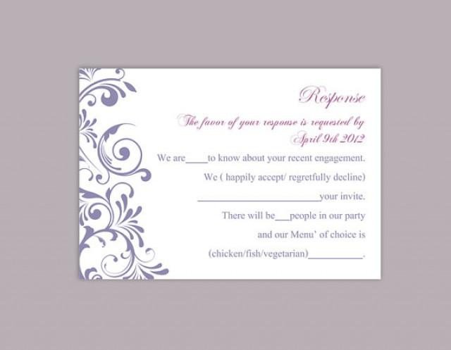 Free Printable Rsvp Cards Diy Wedding Rsvp Template Editable Word File Instant