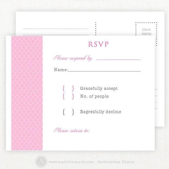 Free Printable Rsvp Cards Items Similar to Pink Printable Rsvp Card Wedding Rsvp