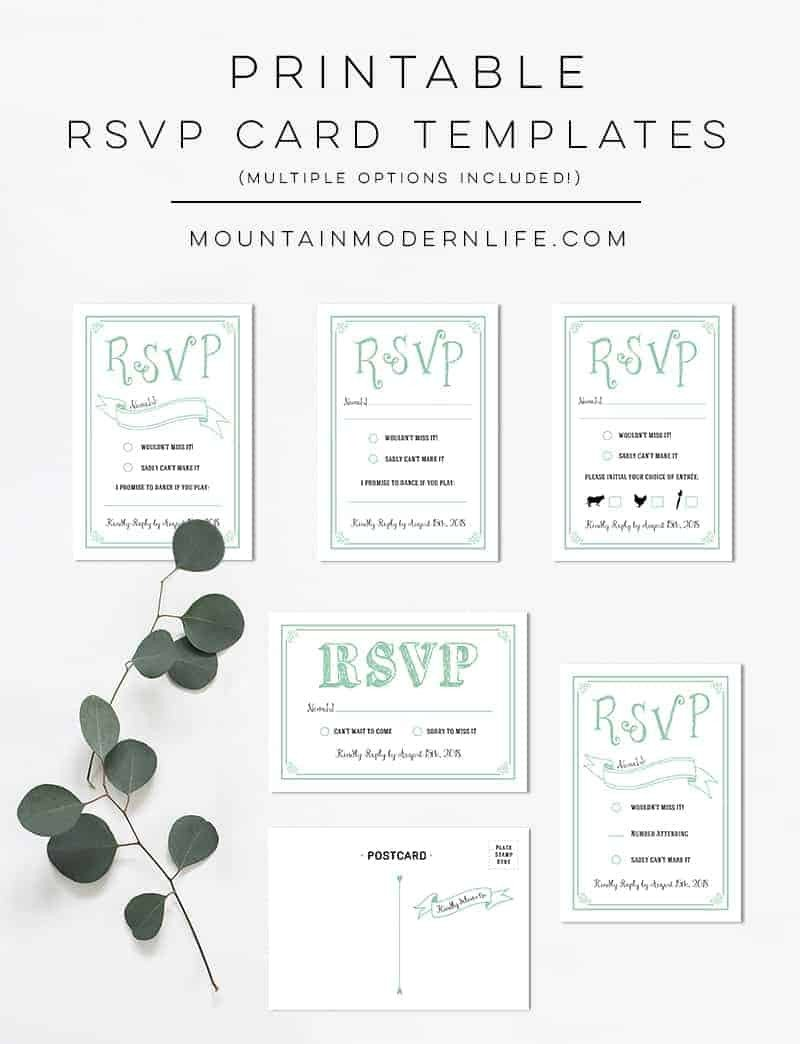 Free Printable Rsvp Cards Mint Rustic Diy Rsvp Card
