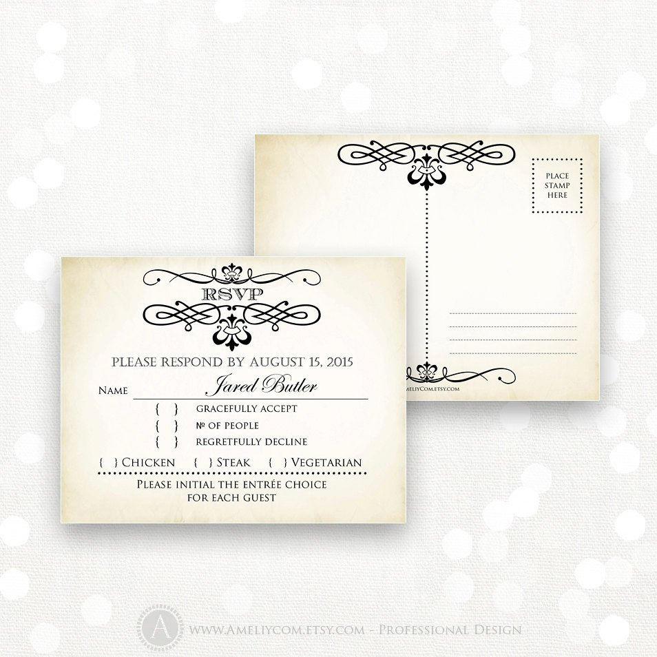 Free Printable Rsvp Cards Printable Rsvp Card Editable Instant Download Digital Diy
