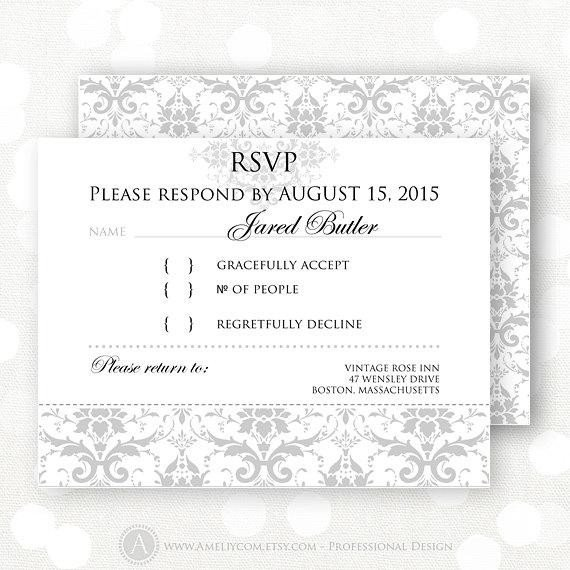 Free Printable Rsvp Cards Printable Rsvp Card Gray Damask Winter Wedding Reply Card