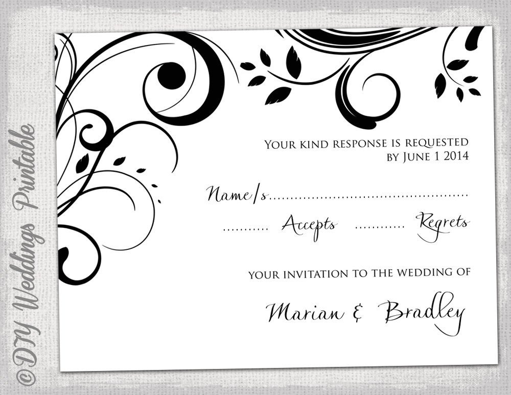 Free Printable Rsvp Cards Rsvp Template Diy Black and White Scroll