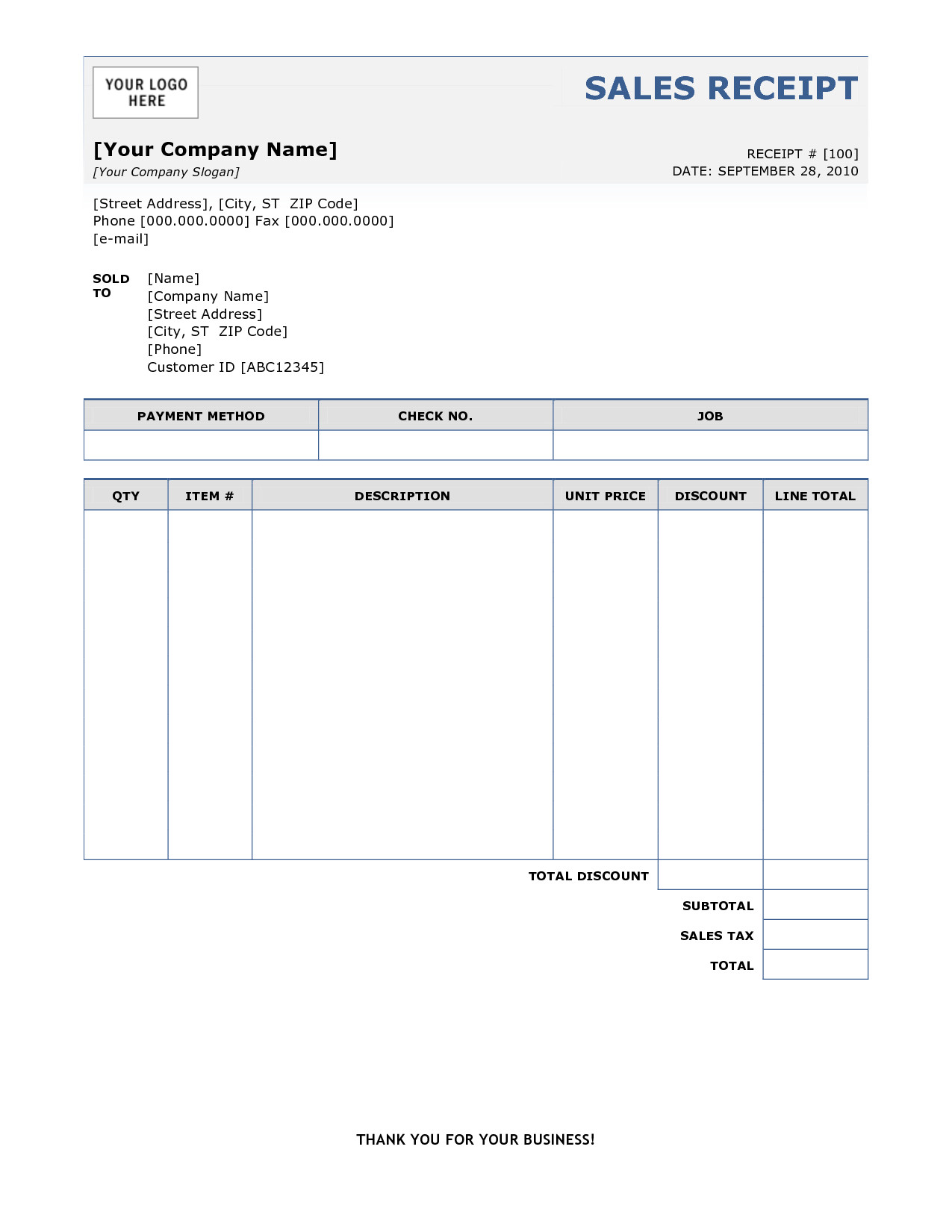 Free Printable Sales Receipt Template 6 Free Sales Receipt Templates Excel Pdf formats