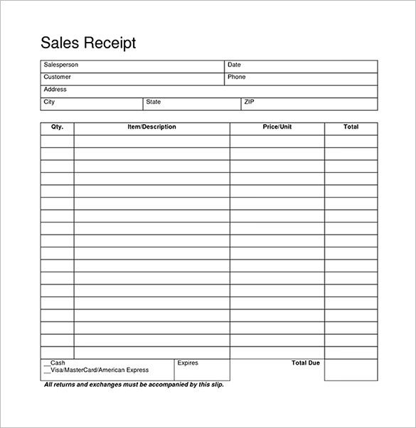 Free Printable Sales Receipt Template Blank Receipt Template – 20 Free Word Excel Pdf Vector