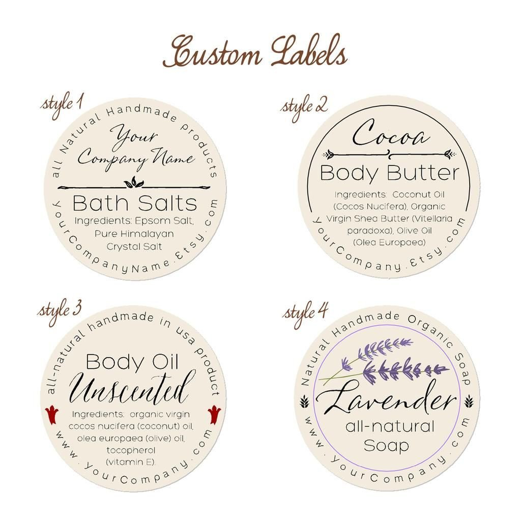 Free Printable soap Label Templates Predesigned Personalized Labels Bath and Body 60 Pk