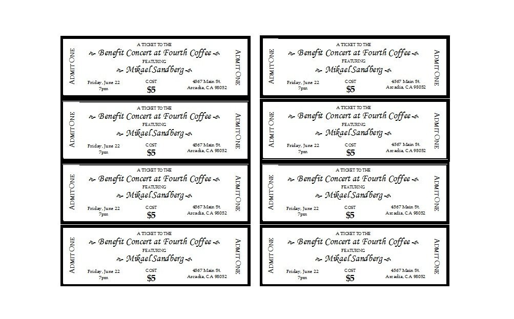 Free Printable Ticket Templates 22 Free event Ticket Templates Ms Word Template Lab
