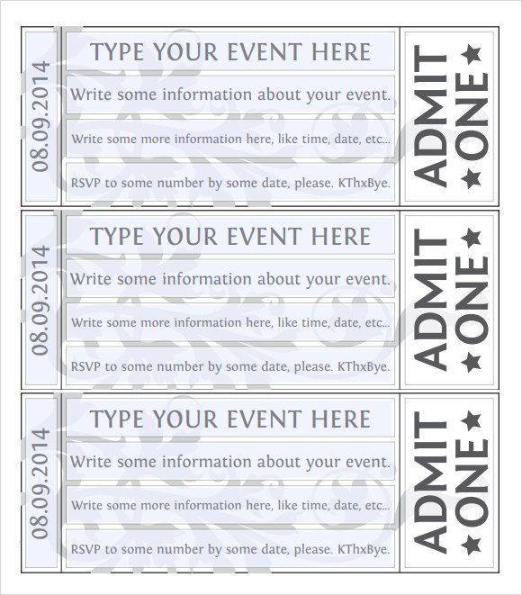 Free Printable Ticket Templates 38 Sample Amazing event Ticket Templates Psd Ai Word